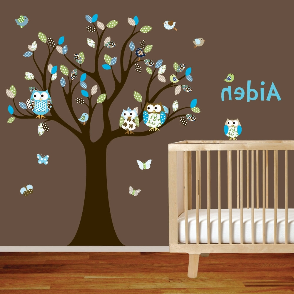 Current Vinyl Wall Decal Stickers Owl Tree Set Nursery Boy Baby. $ (View 2 of 15)