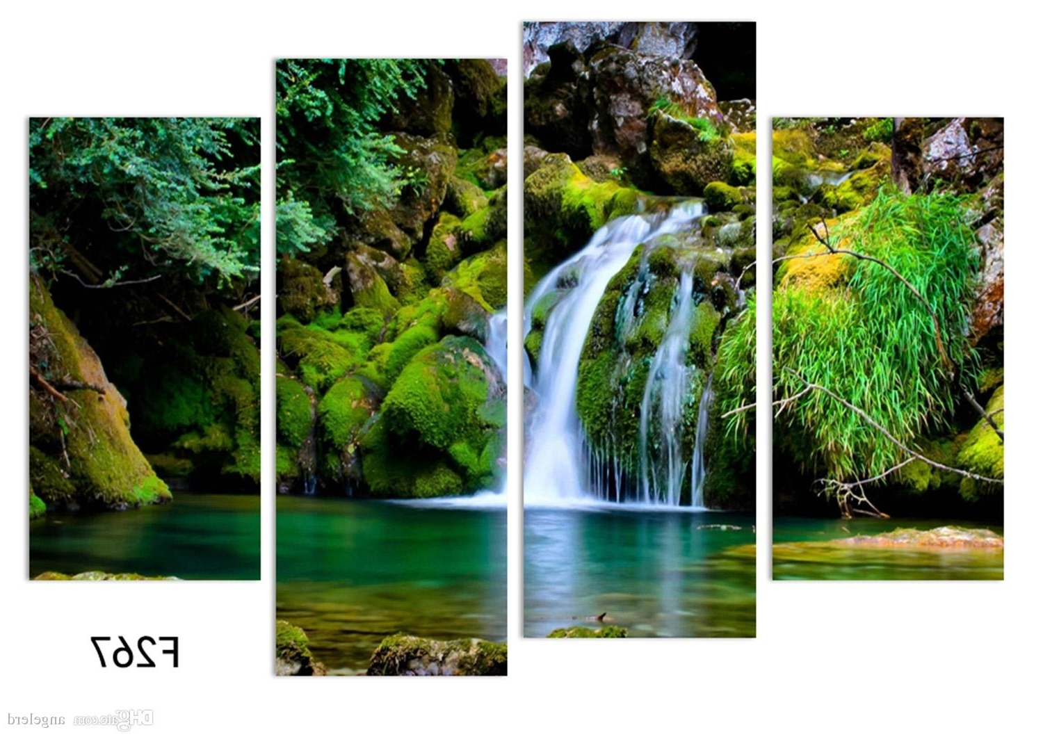 Current Waterfall Wall Art For Online Cheap 4panel Nature Scenery Waterfall Trees Painting Home (View 15 of 15)