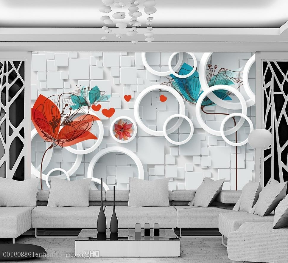 Custom Any Size Hand Painted Abstract Floral 3D Background Wall Within Preferred Abstract Art Wall Murals (View 7 of 15)