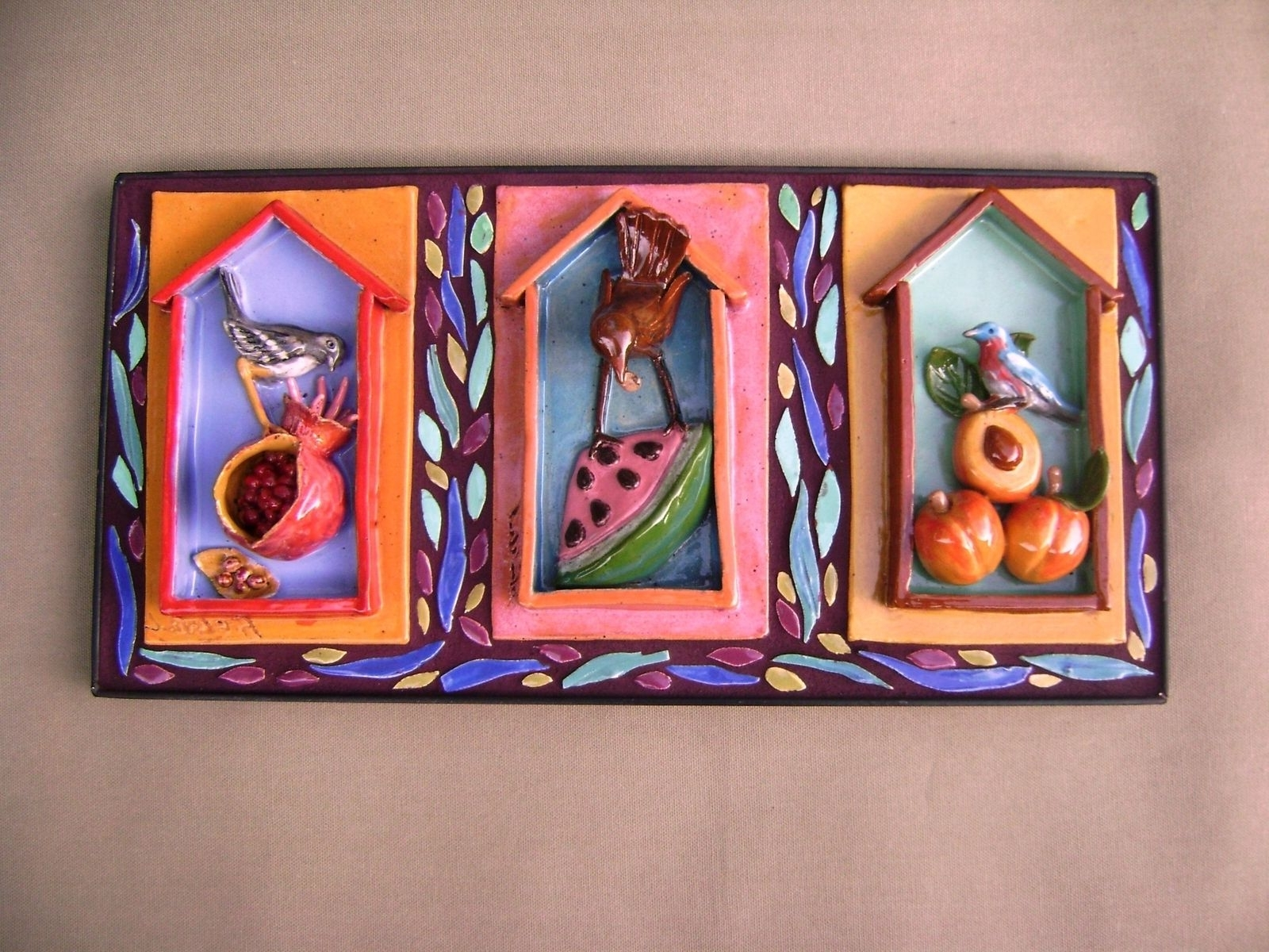 Custom Bird X Three 3 D Ceramic Tile And Mosaic Wall Hanging (View 10 of 15)