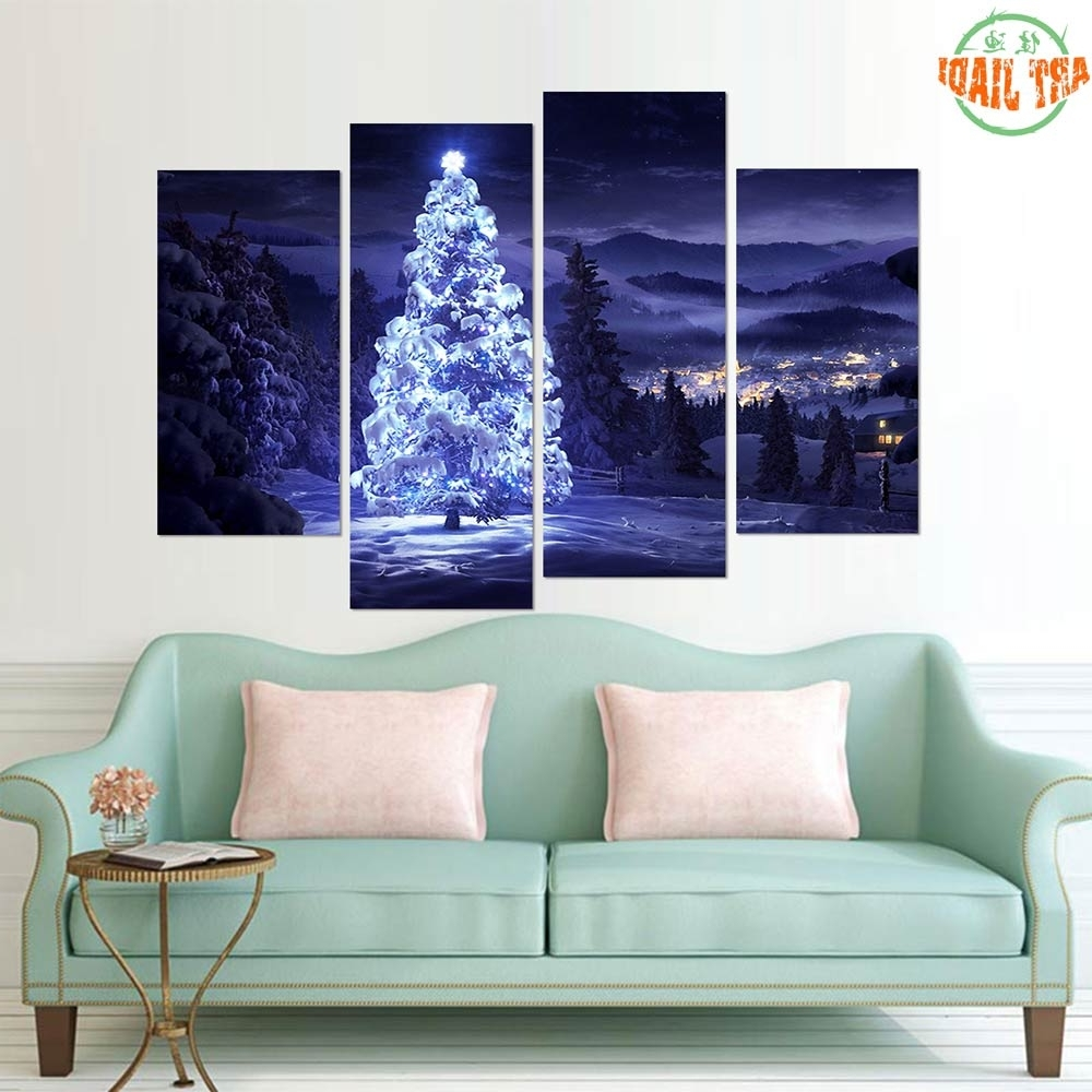 Custom Canvas Art With Words For Preferred New 4 5 Pieces/sets Canvas Art Canvas Paintings Christmas (View 6 of 15)