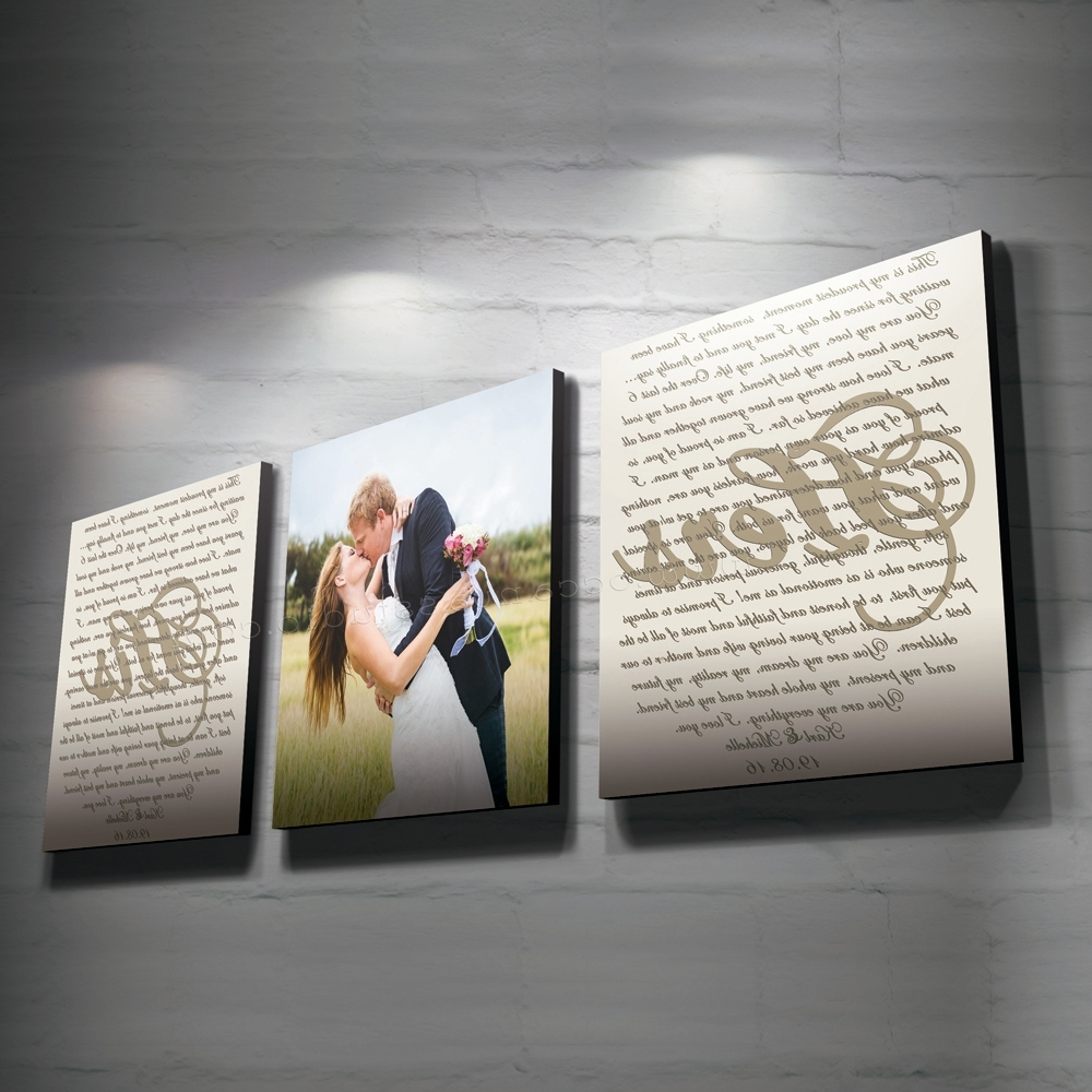 Custom Canvas Art With Words Regarding Favorite Set Of 3 Custom Canvas Print, Wedding Vow Set, Wedding Photo And (View 8 of 15)