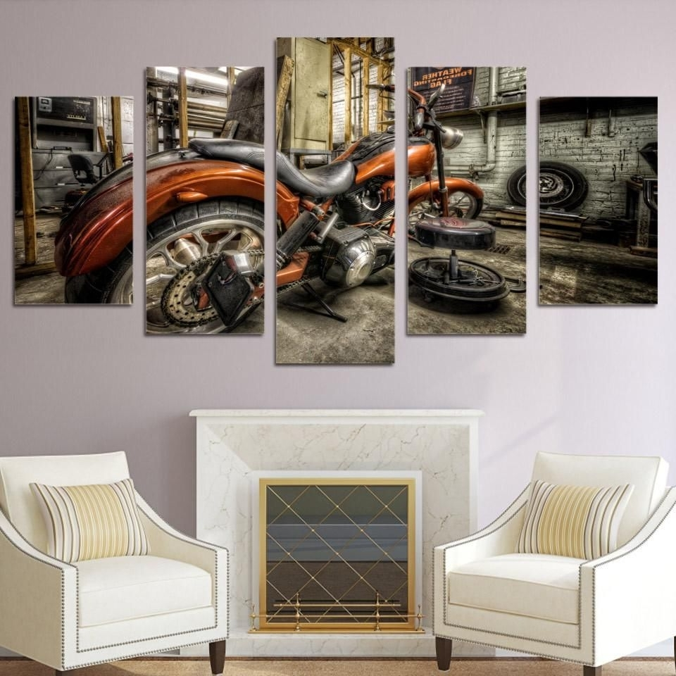 Custom Canvas Art With Words With Most Popular 5 Piece Canvas Art Custom Built Harley Motorcycle Chopper Wide (View 10 of 15)