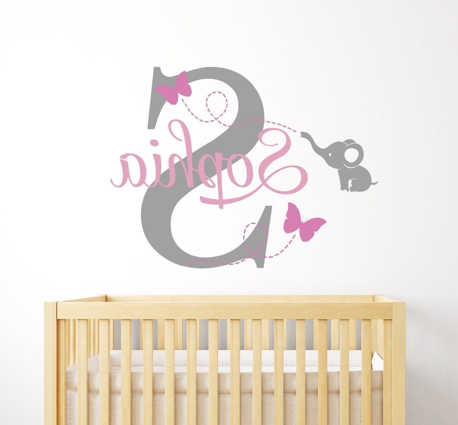 Custom Elephant Name Wall Decal For Girls – Baby Room Decor Pertaining To Most Up To Date Baby Name Wall Art (View 8 of 15)