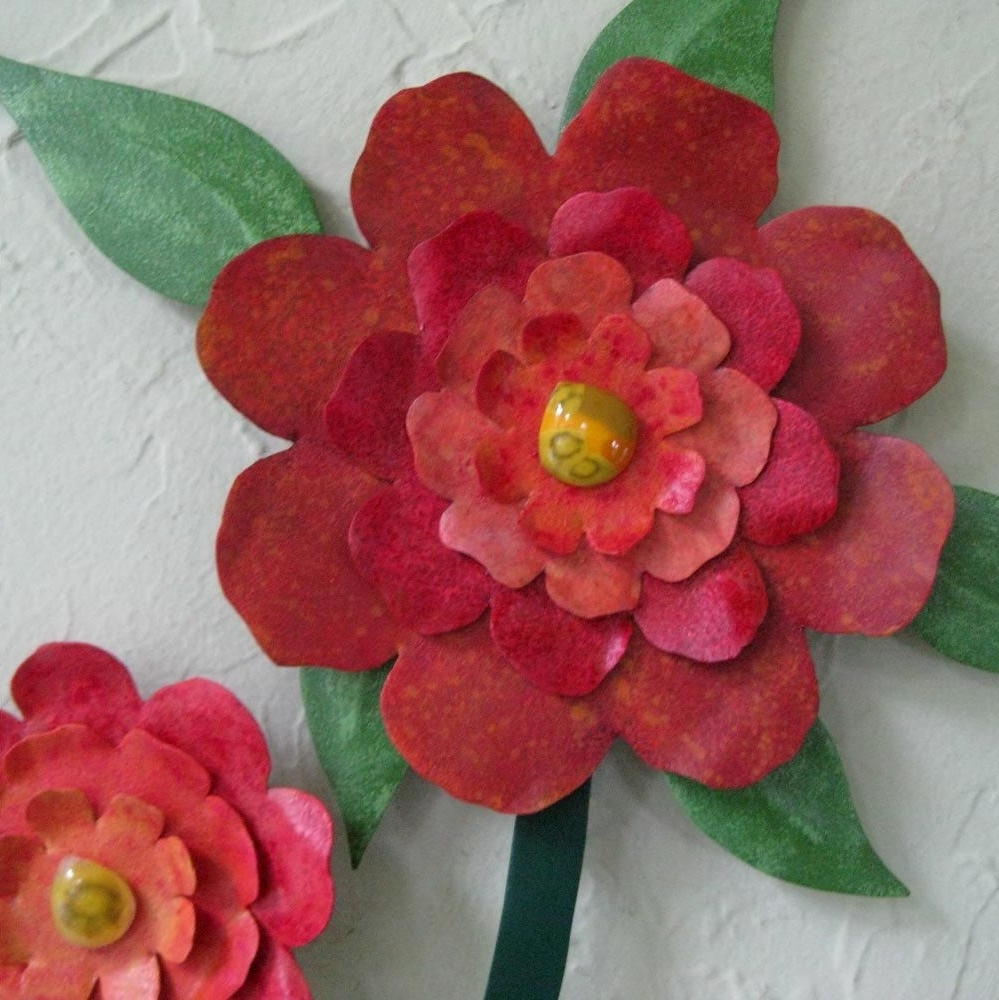 Custom Made Flower Wall Art Sculpture Large Metal Camellia Vase Throughout Most Up To Date Red Flower Metal Wall Art (View 5 of 15)