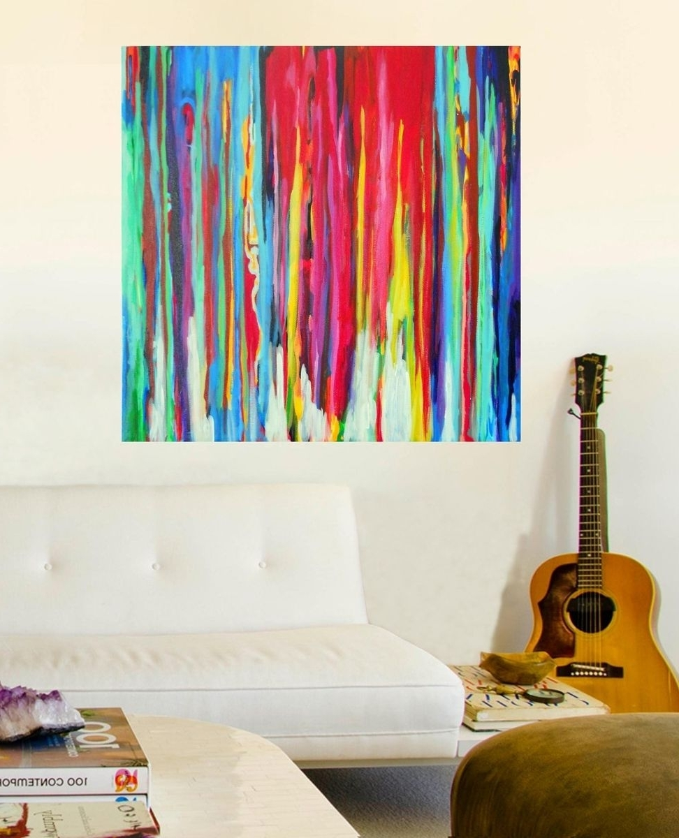 Custom Made Neon Abstract Acrylic Paintingprecious Beast Intended For Most Recent Abstract Neon Wall Art (View 15 of 15)