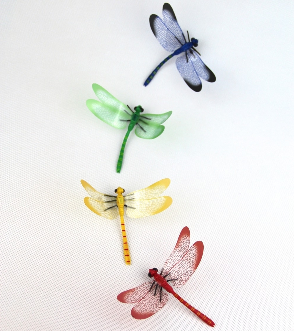 Cute Colourful Pvc 3d Magnetic Dragonfly Sticker Home Wall With Widely Used Dragonfly 3d Wall Art (View 7 of 15)