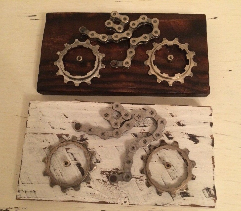 Cycling Wall Art In Preferred Cycling Gift Cycling Art Wall Plaque Gift For Cyclist Upcycled (View 3 of 15)