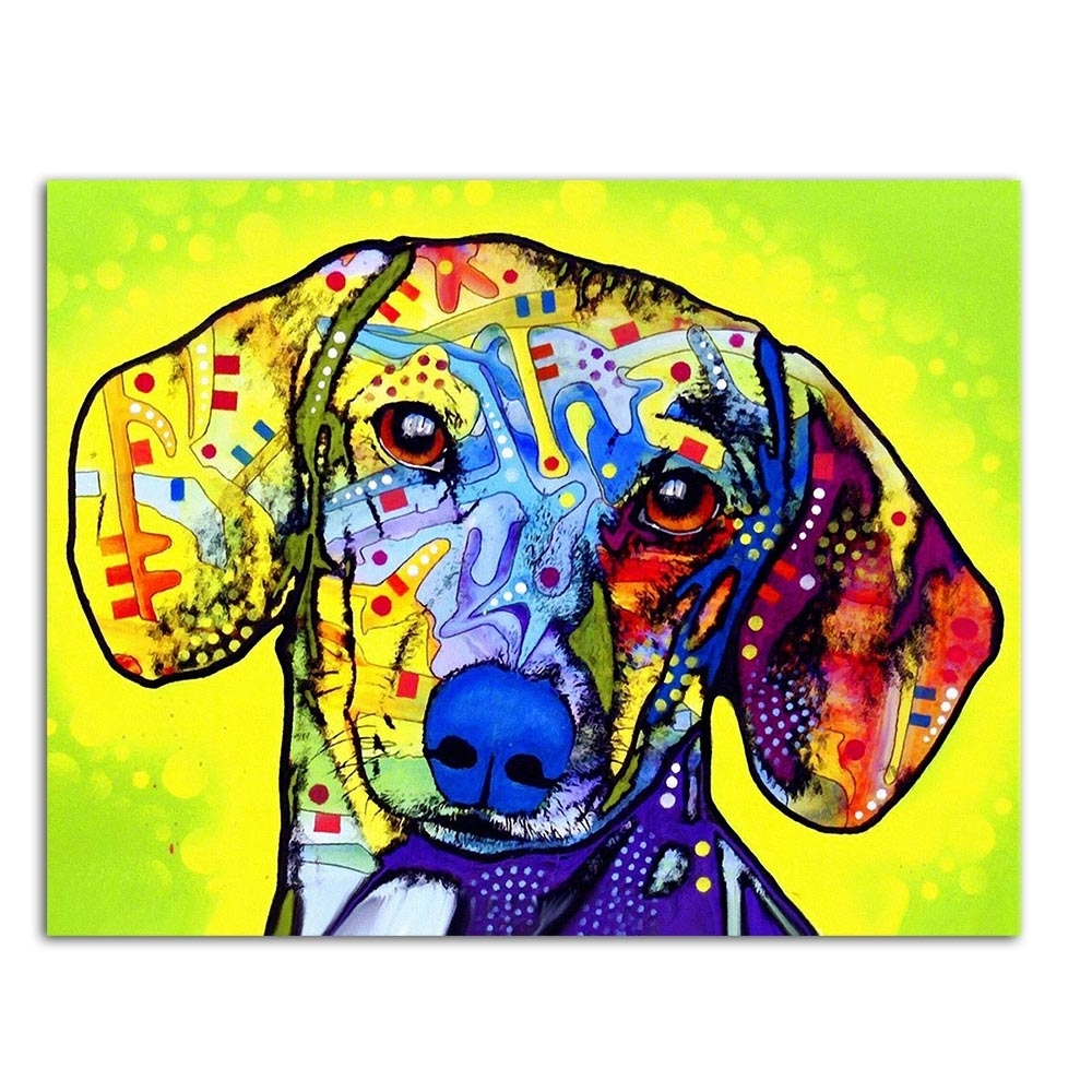 Dachshund Wall Art With Favorite Modern Abstract Large Wall Art Oil Painting Print On Canvas (View 14 of 15)