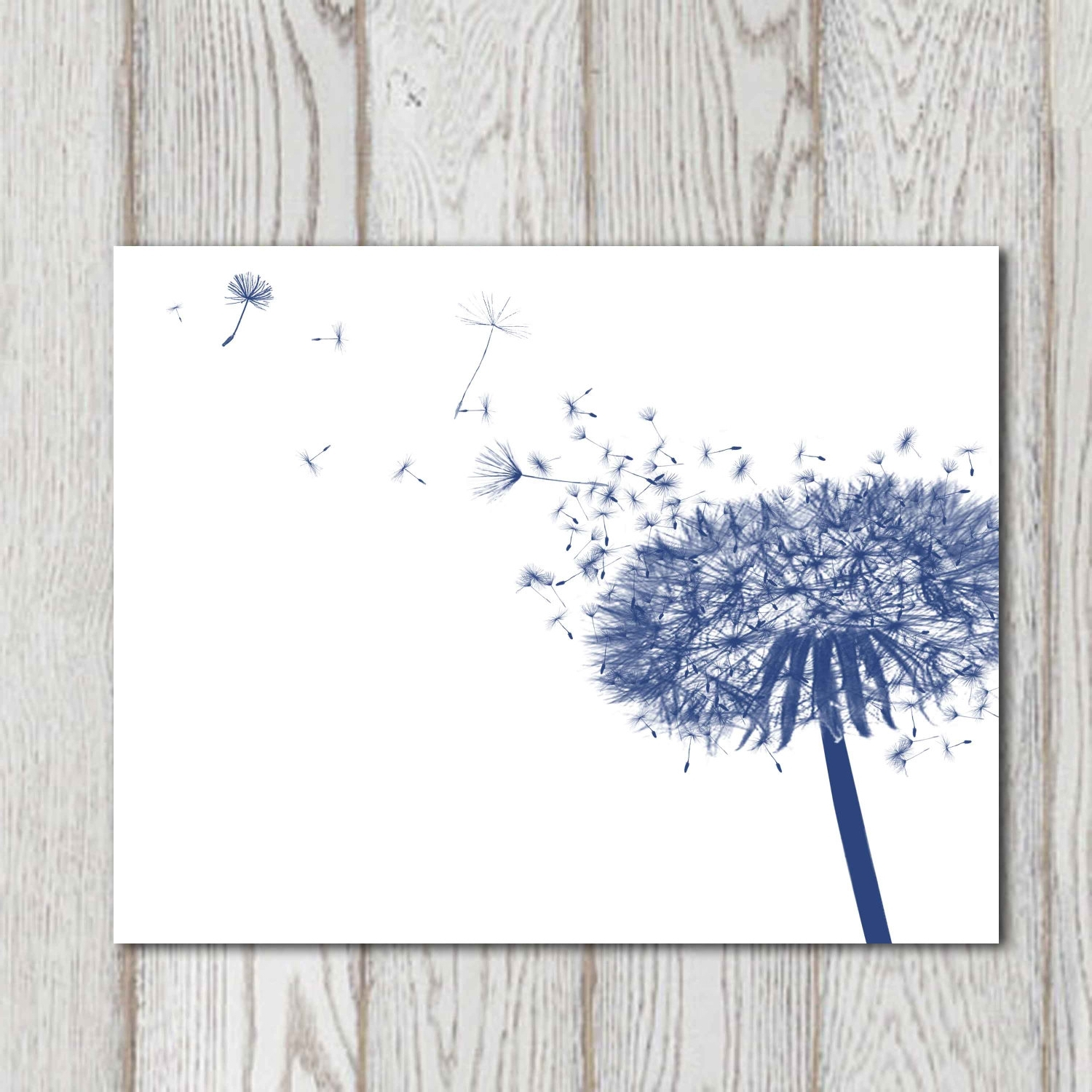 Dandelion Decor Print Navy Blue Home Decor Navy Bedroom Decor Intended For Current Dark Blue Wall Art (View 3 of 15)