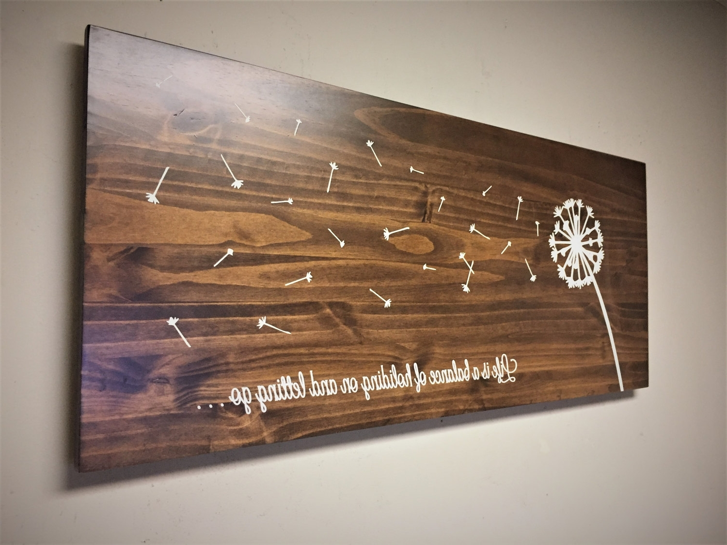 Dandelion Home Decor, Wood Wall Art, Dandelion Art, Rustic Wooden Within Most Up To Date Stained Wood Wall Art (Gallery 2 of 15)