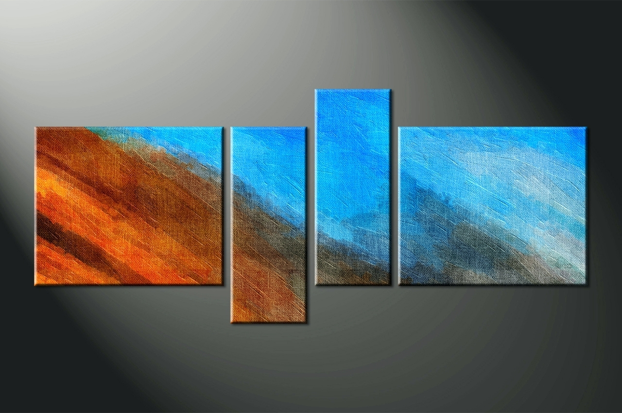 Dark Blue Abstract Wall Art Inside Well Liked Wall Arts ~ Home Decor 4 Piece Canvas Wall Art Abstract Multi (View 3 of 15)