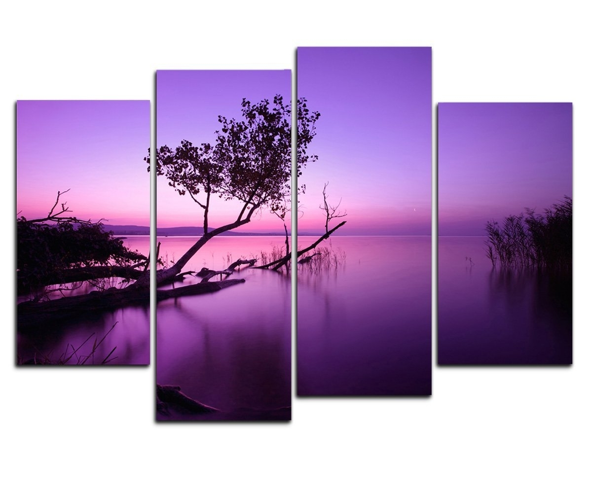 Dark Purple Abstract Wall Art Intended For Fashionable Amazon: Wieco Art – Purple Lake Modern 4 Piece Stretched And (View 5 of 15)