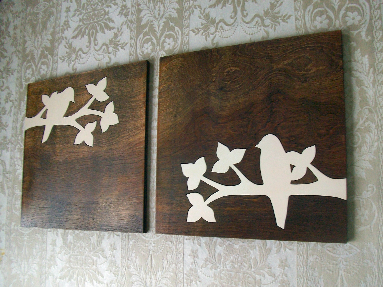 Dark Wood Wall Art Regarding Most Popular This Beautiful Bird Silhouette Set Is My Original Design (View 2 of 15)
