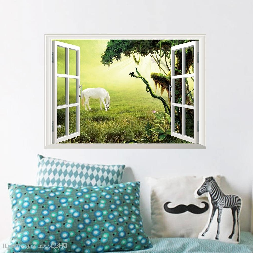 Decorative 3D Wall Art Stickers Pertaining To Most Popular 3D Window Wall Art Mural Sticker White Horse On The Grassland Wall (View 4 of 15)