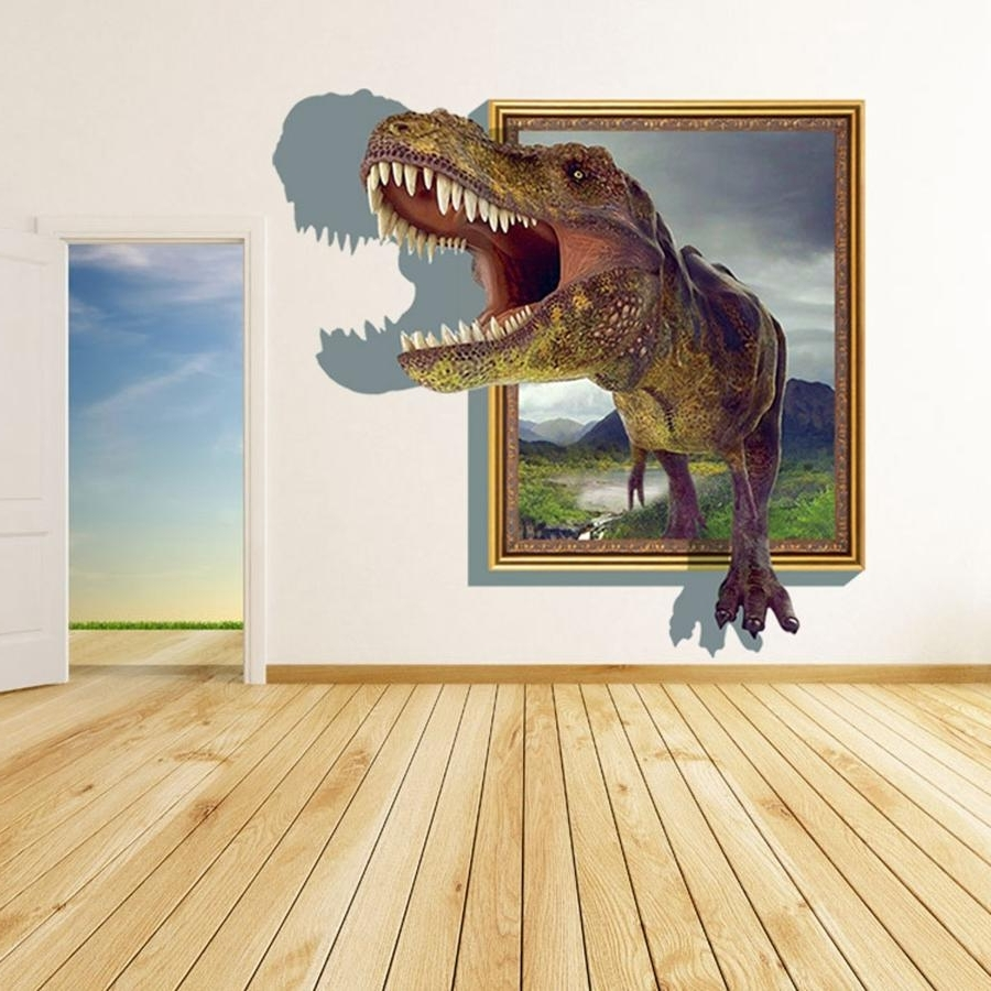 Decorative 3D Wall Art Stickers Throughout Recent 2015 3D Wall Stickers For Kids Rooms Boys Dinosaur Decals For Baby (View 5 of 15)