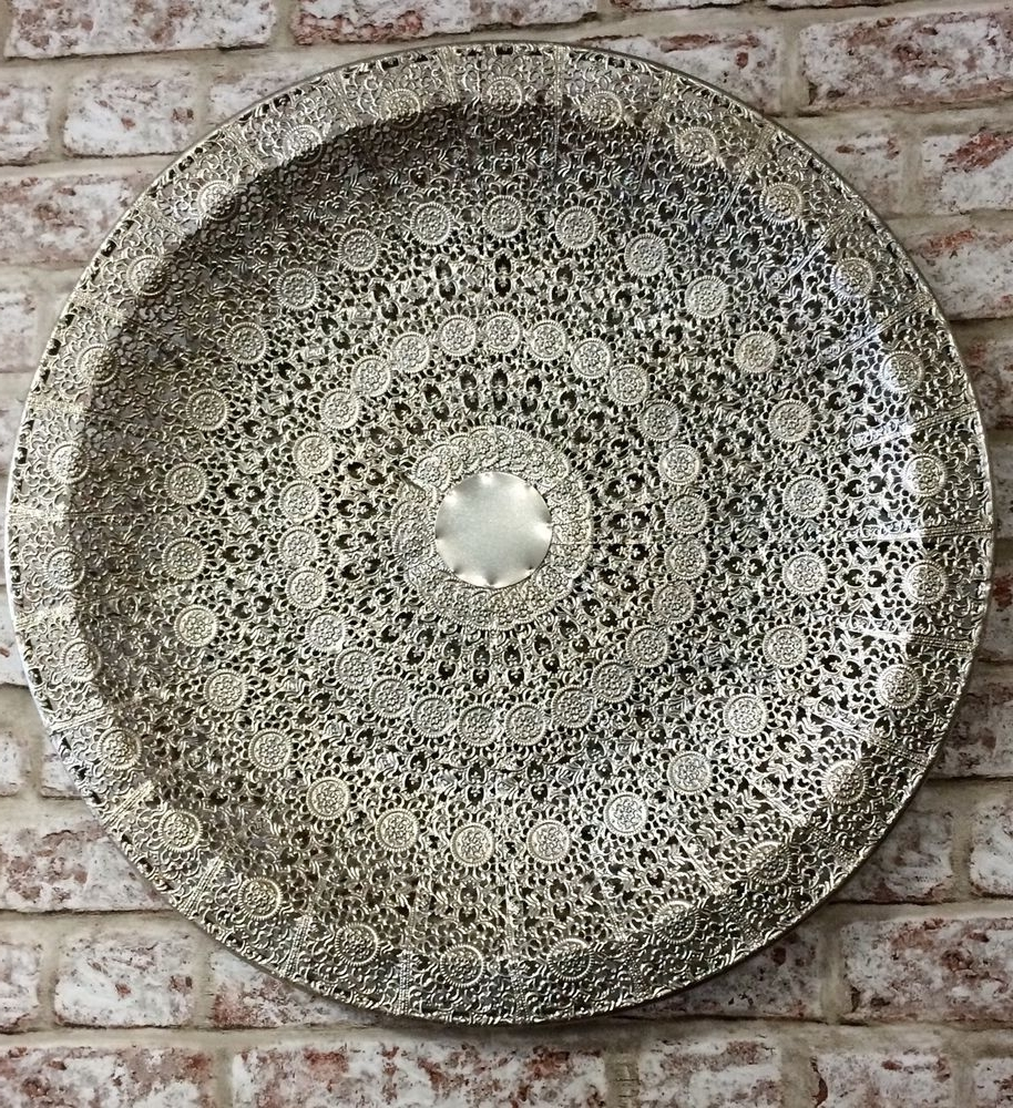 Decorative Metal Disc Wall Art Regarding Fashionable Large Antique Silver Colour Metal Filigree Moroccan Plate Wall Art (View 6 of 15)