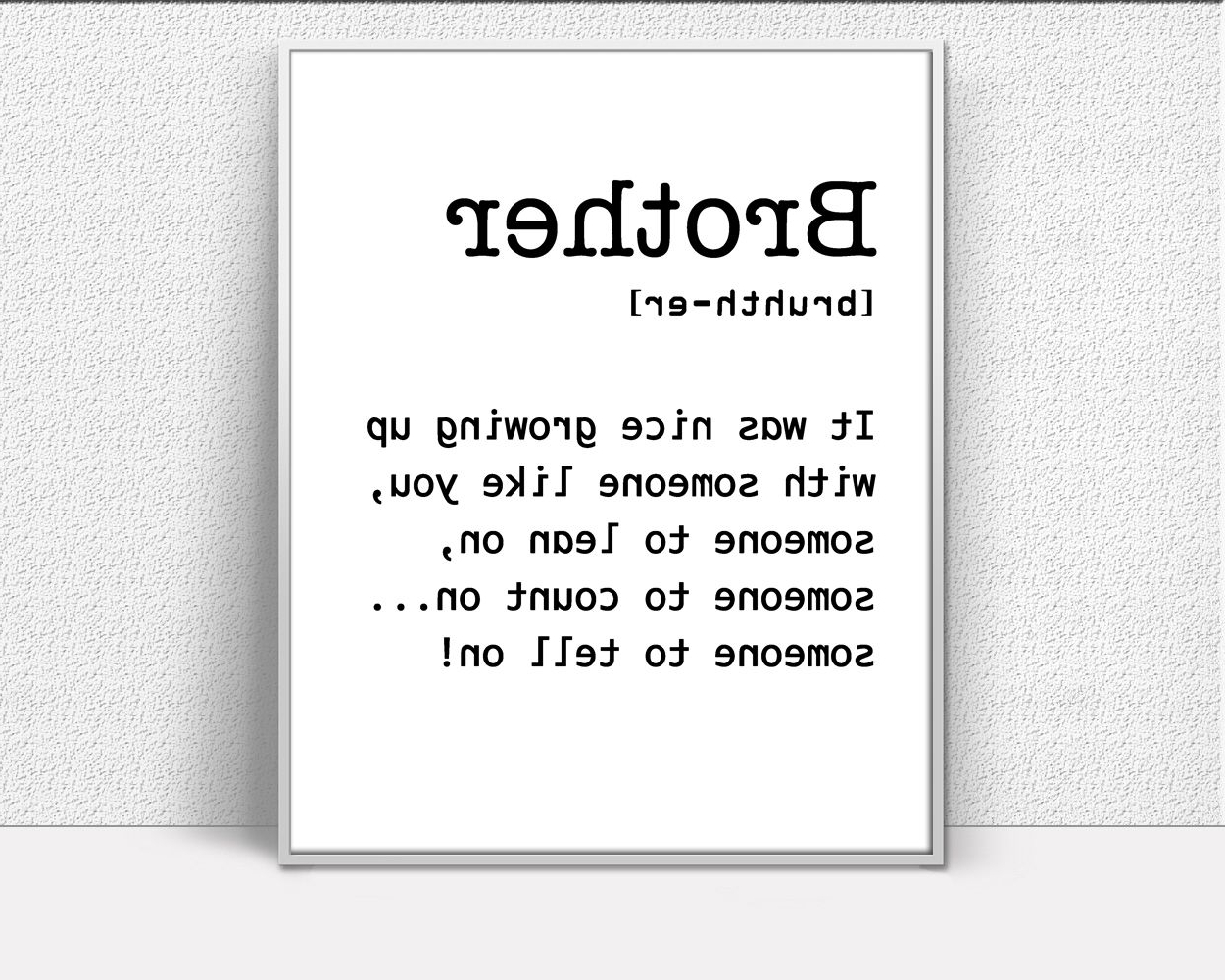 Definition Prints Wall Art Brother Digital Download Definition Regarding Well Liked Brother Definition Wall Art (Gallery 4 of 15)