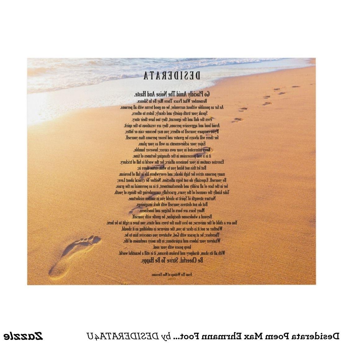 Desiderata Poem Max Ehrmann Footprints In The Sand Panel Wall Art Inside Most Current Footprints In The Sand Wall Art (Gallery 11 of 15)