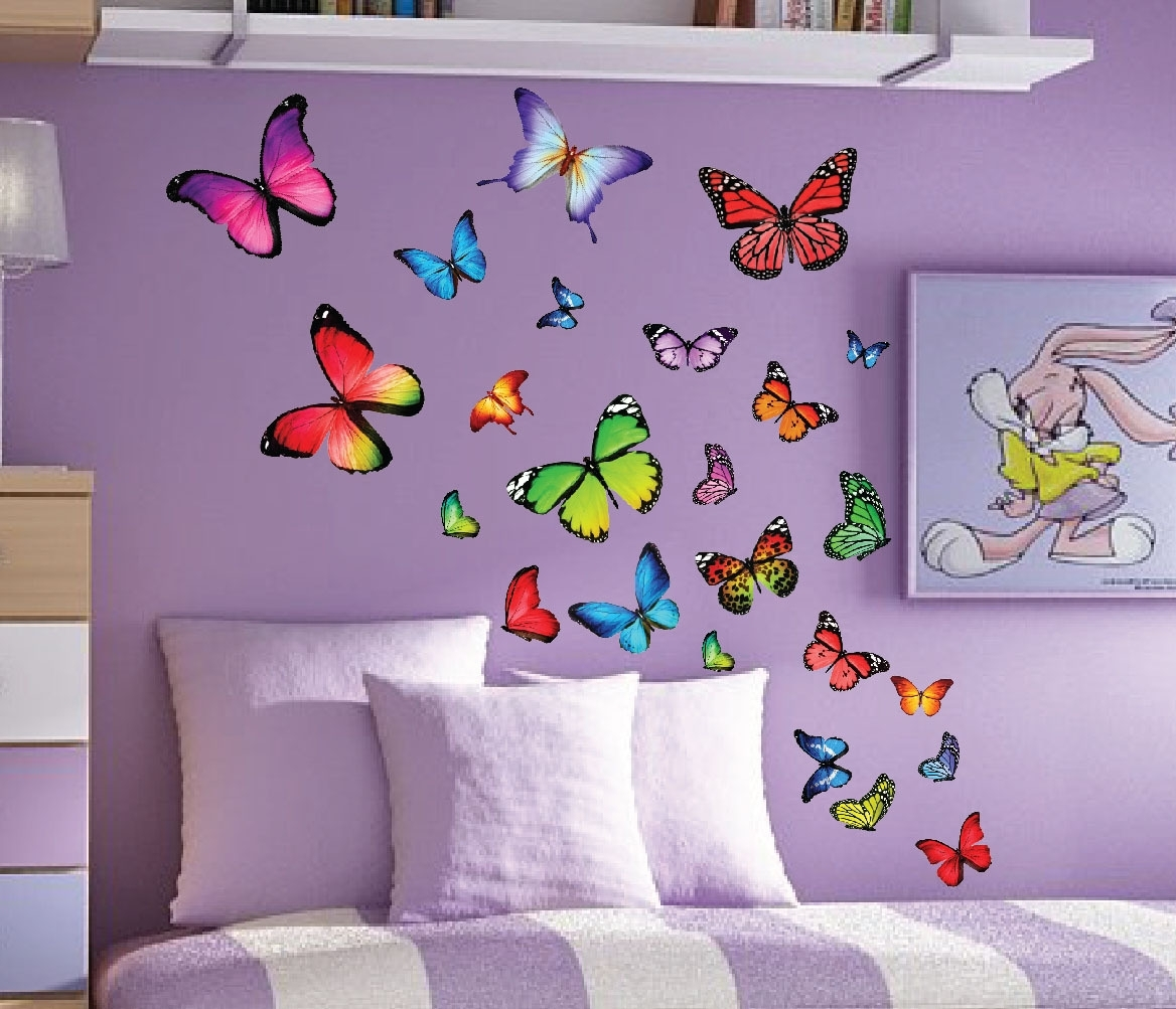Design Idea And Decorations For Butterflies Wall Art Stickers (View 12 of 15)