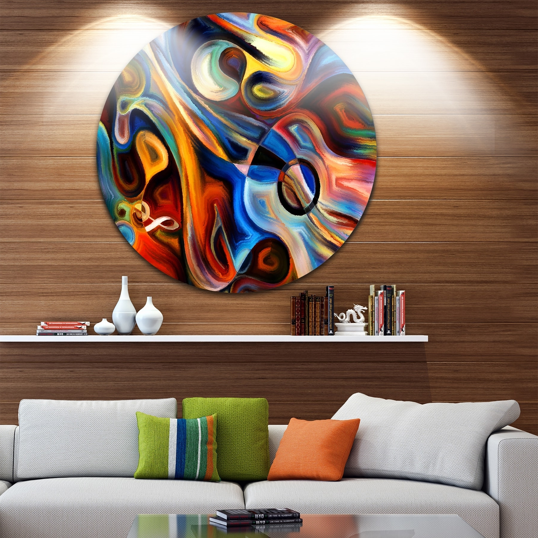 Designart 'abstract Music And Rhythm' Abstract Glossy Circle Metal Pertaining To Preferred Music Metal Wall Art (View 2 of 15)