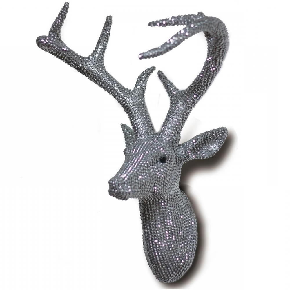 Diamante Diamond Wall Mounted Deer Stag Head Wall Art Hanging With Most Up To Date Resin Animal Heads Wall Art (View 5 of 15)