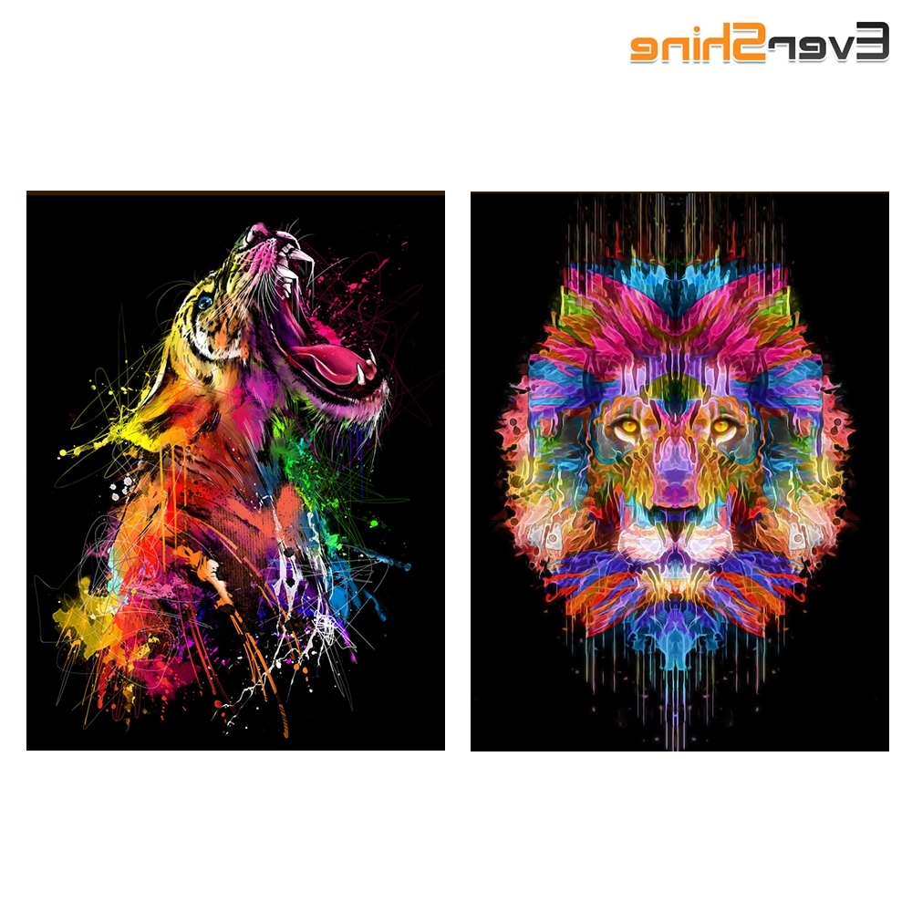 Diamond Mosaic Lion Cross Stitch Kits Wall Art Painting Diy 5D Regarding Most Recent Mosaic Wall Art Kits (View 3 of 15)