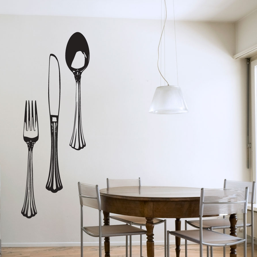 Dining Cutlery Set Wall Art Decals Pertaining To Favorite Dining Wall Art (Gallery 3 of 15)