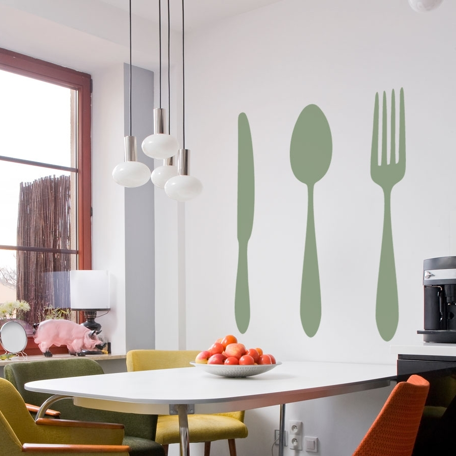 Dining Cutlery Silhouette Set Wall Art Decals Pertaining To Favorite Dining Wall Art (View 7 of 15)