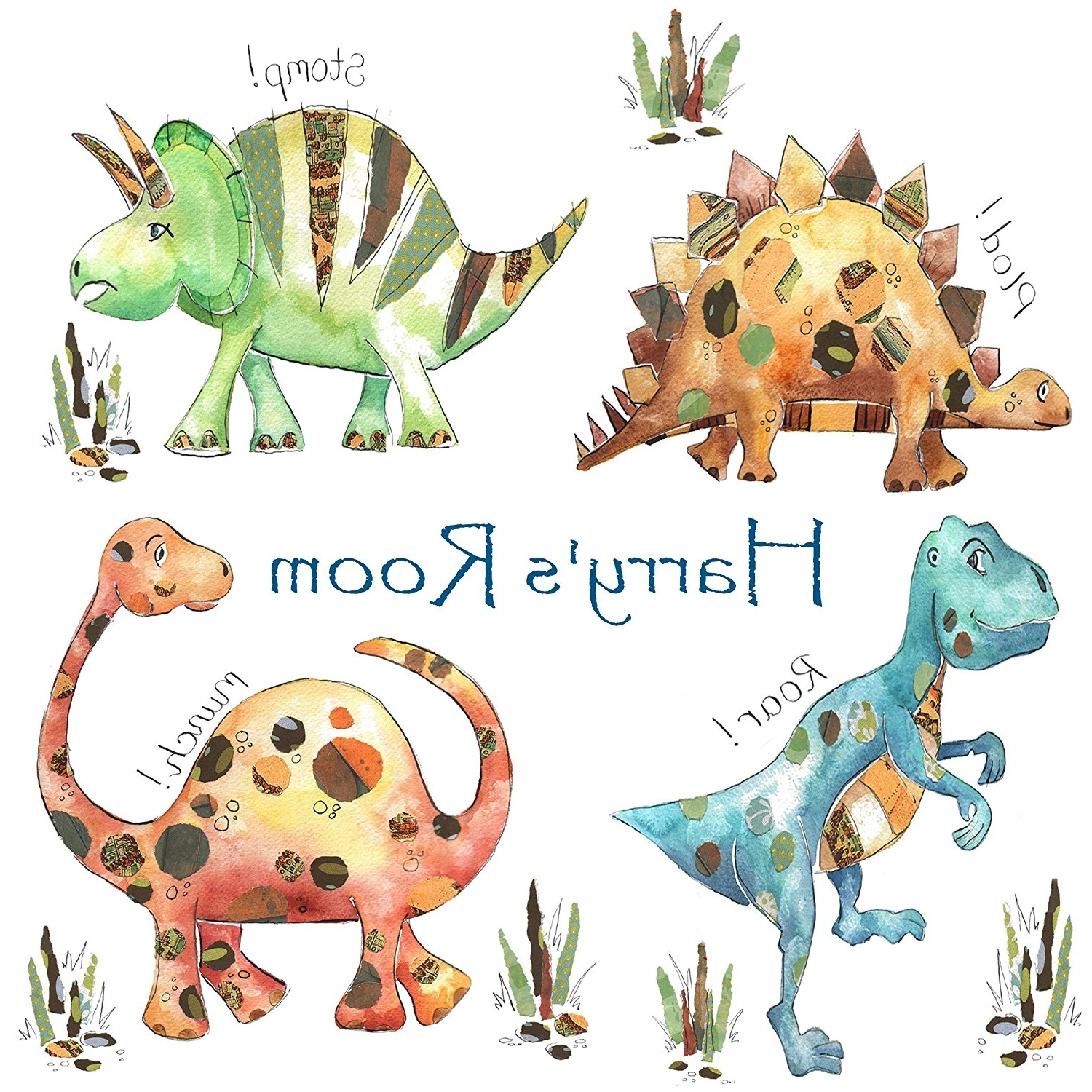 Dinosaur Canvas Wall Art Inside Most Recently Released Canvas Prints,dinosaur, Personalised Gift.: Amazon.co (View 6 of 15)