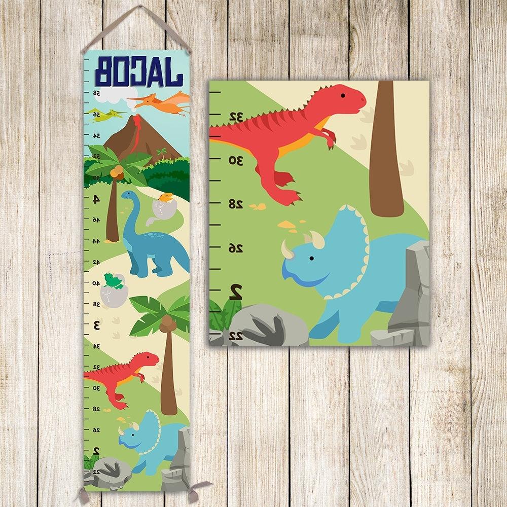 Dinosaur Growth Chart, Dinosaurs Height Chart, Dinosaur Nursery Throughout 2017 Dinosaur Wall Art For Kids (View 4 of 15)