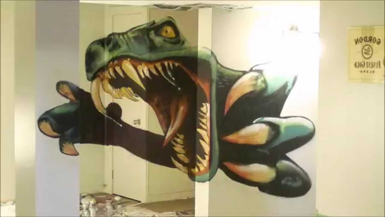 Dinosaur Timelapse Spray Paint – Youtube Pertaining To Current Dinosaurs 3D Wall Art (View 7 of 15)