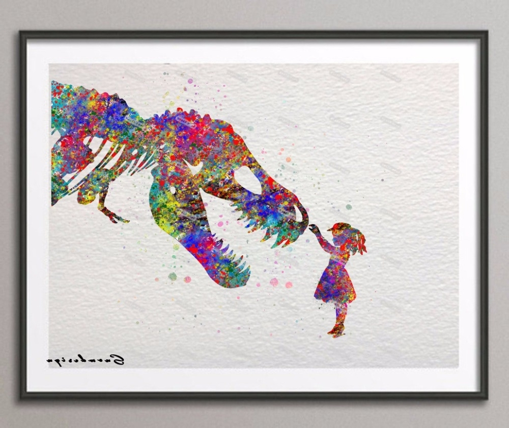 Dinosaur Wall Art For Kids Within Widely Used Original Watercolor Trex Dinosaur With Girl Poster Prints Pictures (View 9 of 15)