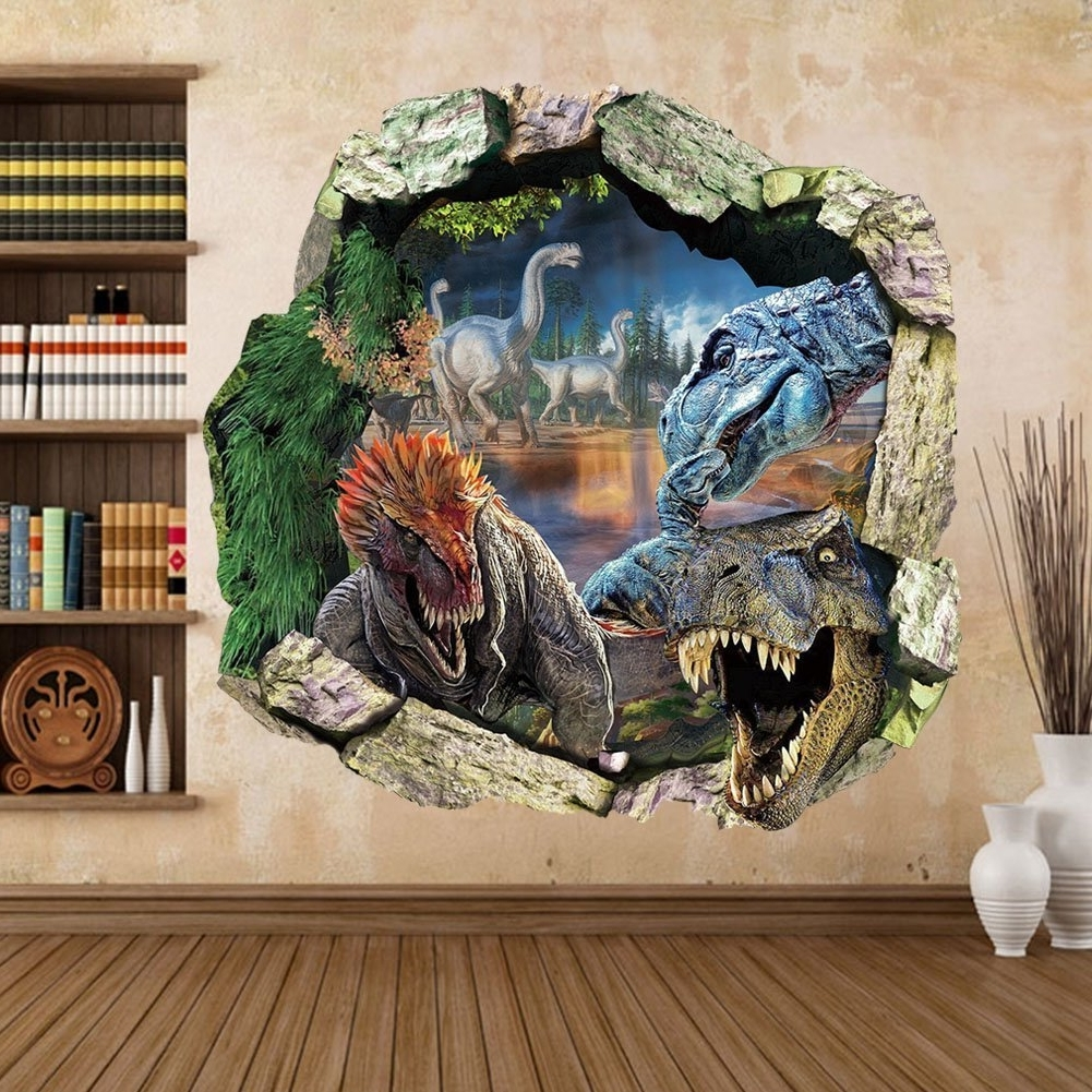 Dinosaurs 3D Wall Art Within Well Known Zooarts  Dinosaur Cracked Wall Removable Vinyl Mural Art Wall (Gallery 9 of 15)