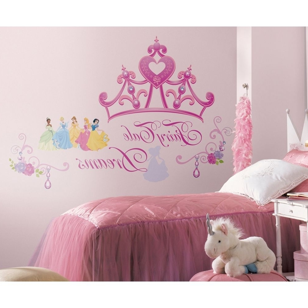 Disney Princess Crown Wall Mural Stickers Girls Pink Tiara Decals Inside Most Up To Date Disney Princess Wall Art (View 2 of 15)