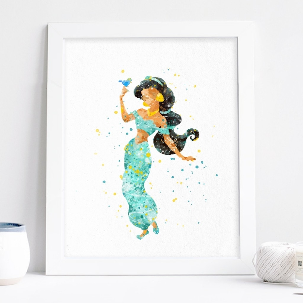 Disney Princess Wall Art Within Most Recently Released Princess Jasmine Art, Aladdin Watercolor Print Nursery Wall Decor (View 7 of 15)