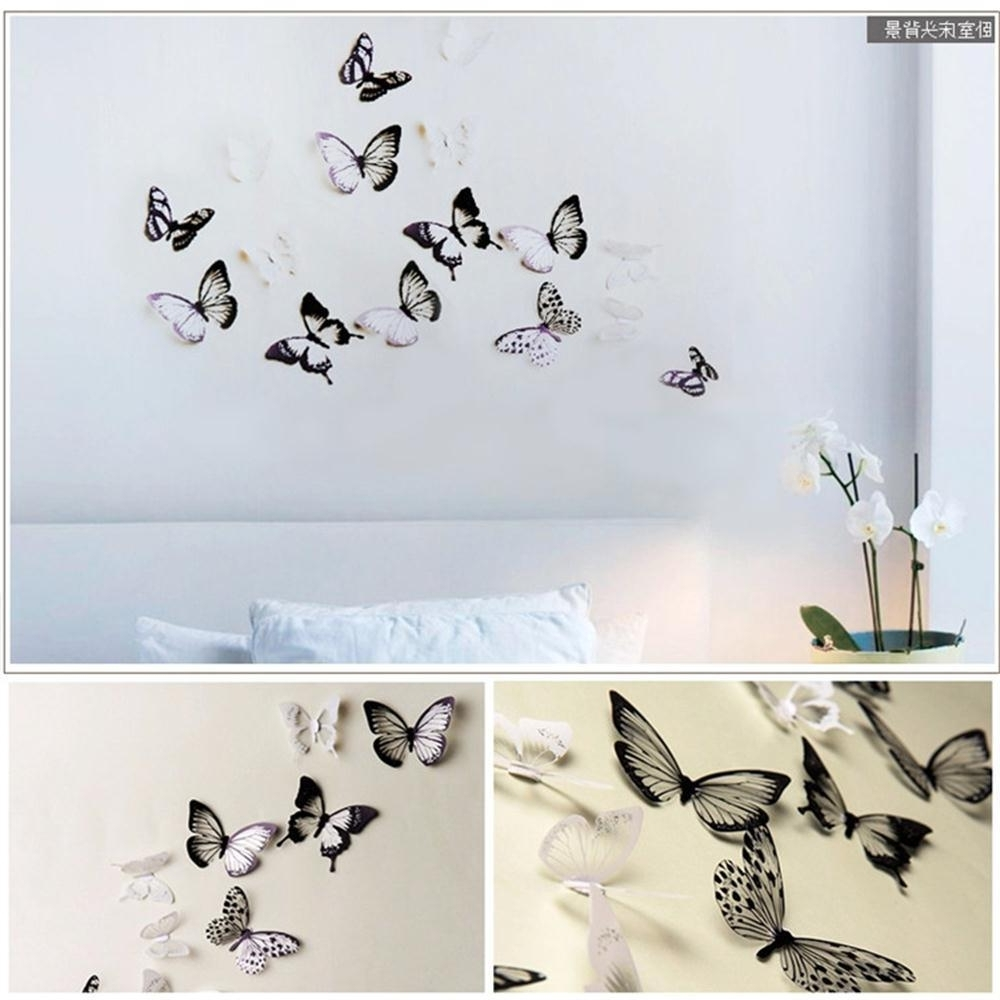 Diy 3D Butterfly Wall Art With Most Recently Released 18Pcs/lot Creative 3D Butterfly Stickers Pvc Removable Wall Decor (View 6 of 15)