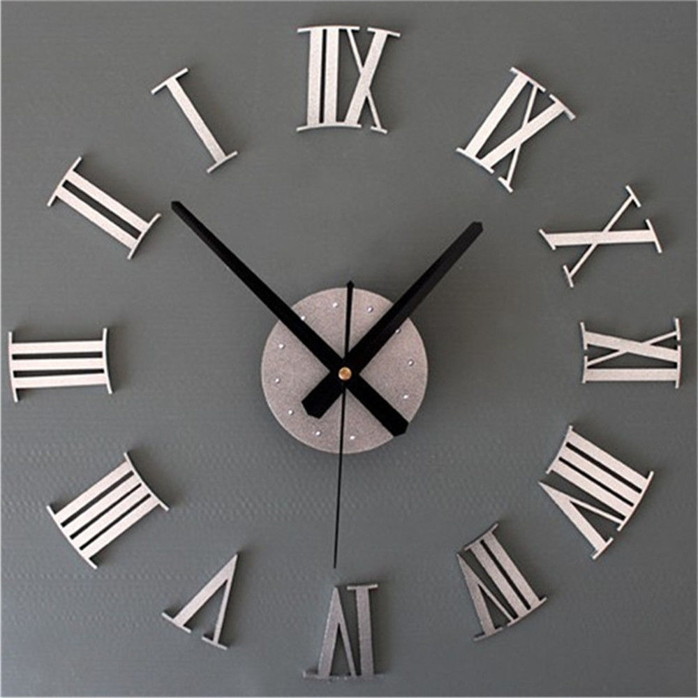 Diy 3d Roman Numerals Large Luxury Home Decor Mirror Wall Clock Throughout Famous Large Art Deco Wall Clocks (View 3 of 15)