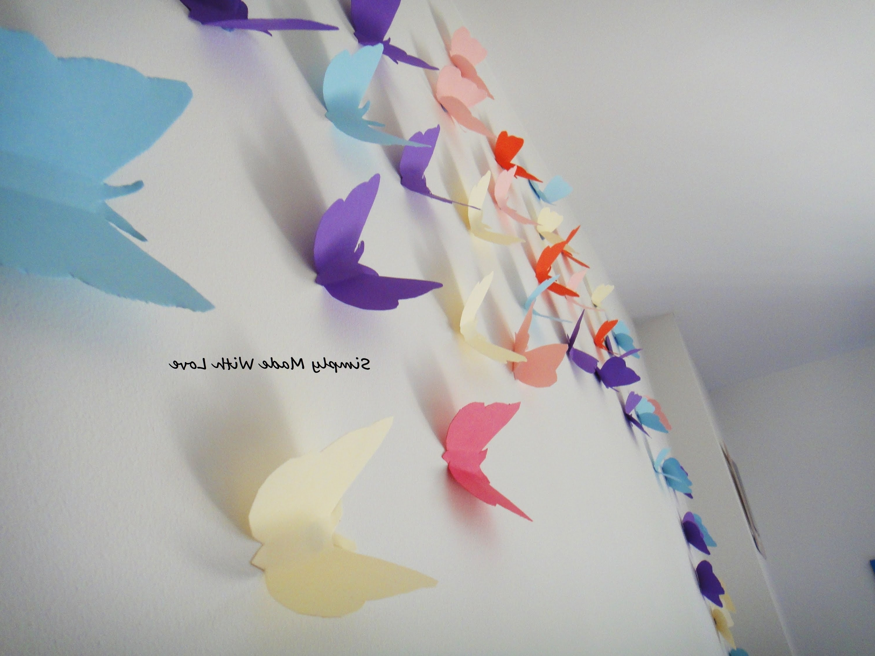 Diy 3D Wall Art Butterflies In Widely Used Diy How To Make Beautiful, Cheap And Easy, 3D Wall Decoration With (View 7 of 15)
