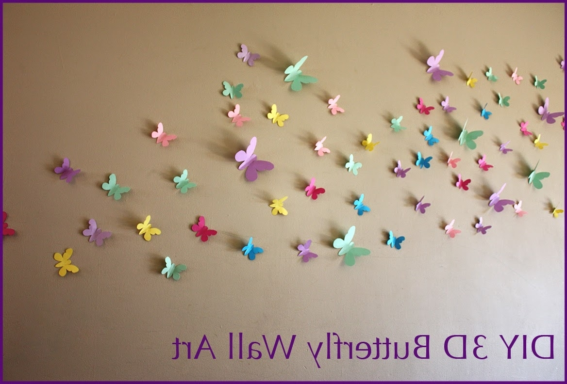 Diy 3D Wall Art Butterflies Intended For Most Up To Date Moomama: Diy 3D Butterfly Wall Art With Free Templates (View 8 of 15)