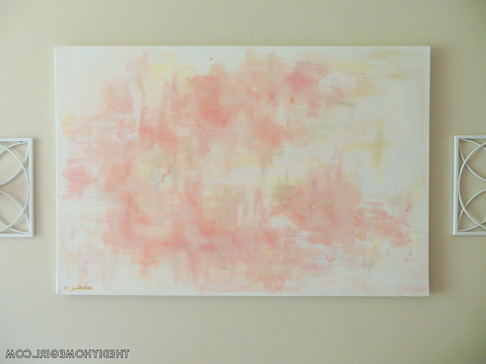 Diy Abstract Wall Art Salmon Shrimp Toast Pink Rose Gold Silver Throughout Best And Newest Pink Abstract Wall Art (View 7 of 15)