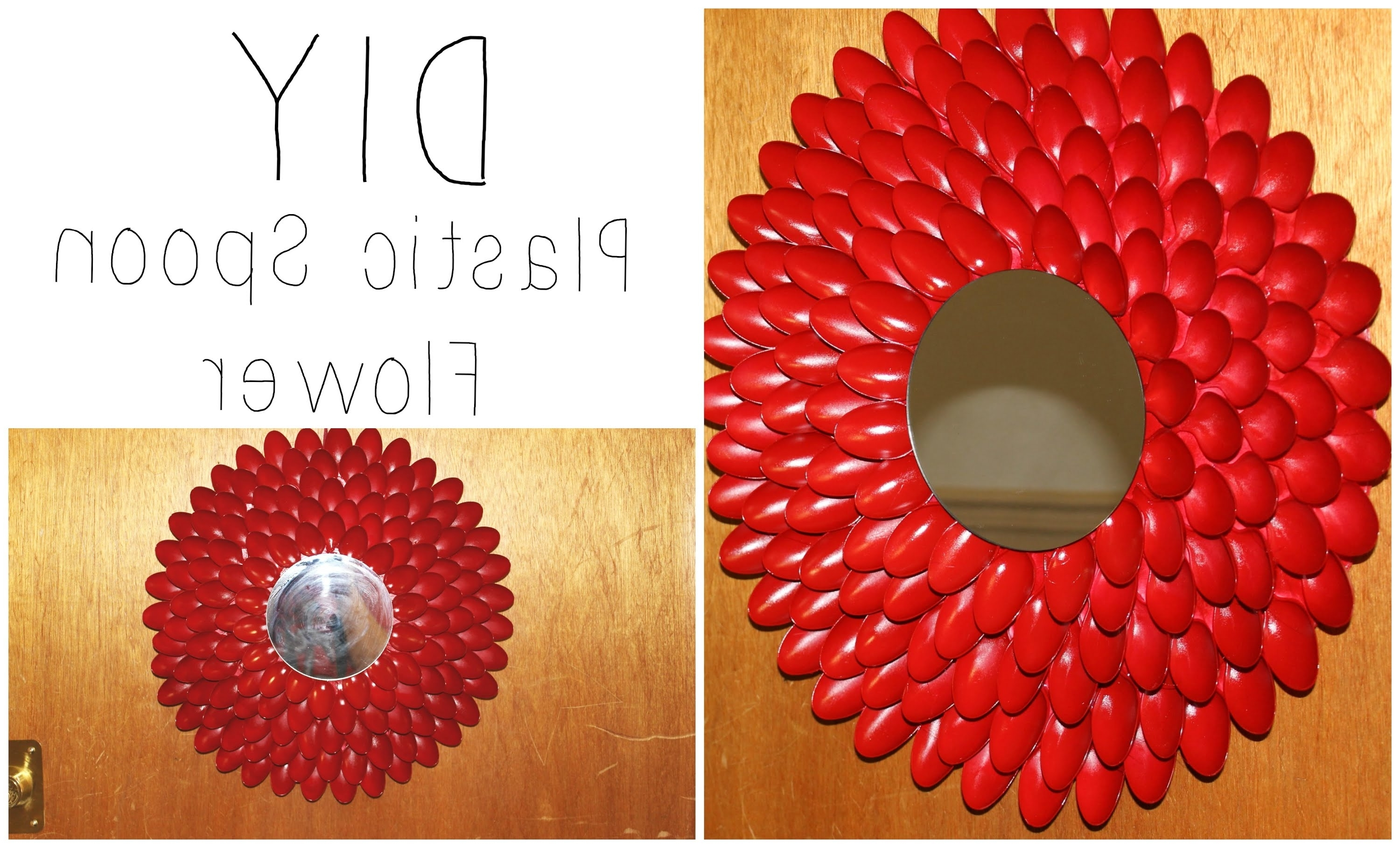 Diy: Plastic Spoon Flower Wall Hanging / Wreath ♡ {house Decor Intended For Most Recent Plastic Spoon Wall Art (View 9 of 15)