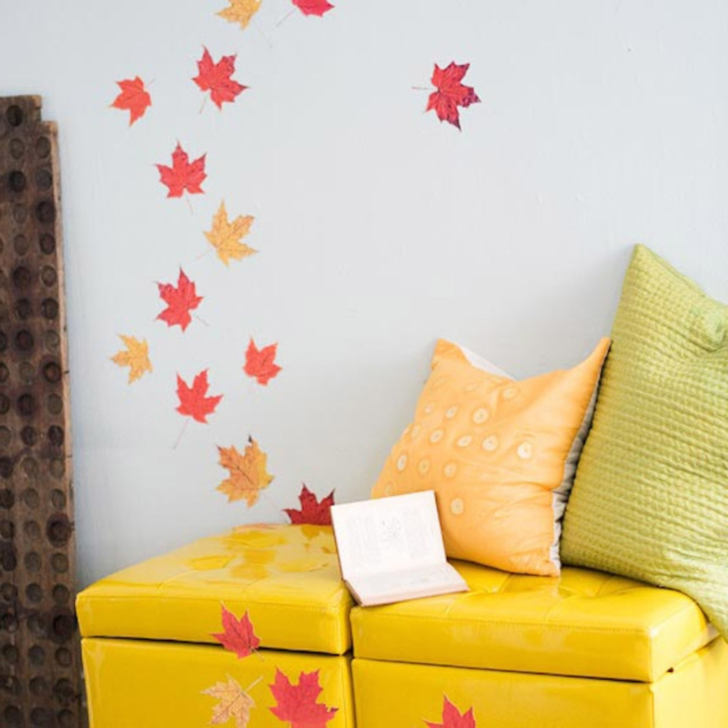 Diy Projects: Pressed Leaves Attached To Wall And Furniture – 8 For Latest Seasonal Wall Art (View 3 of 15)