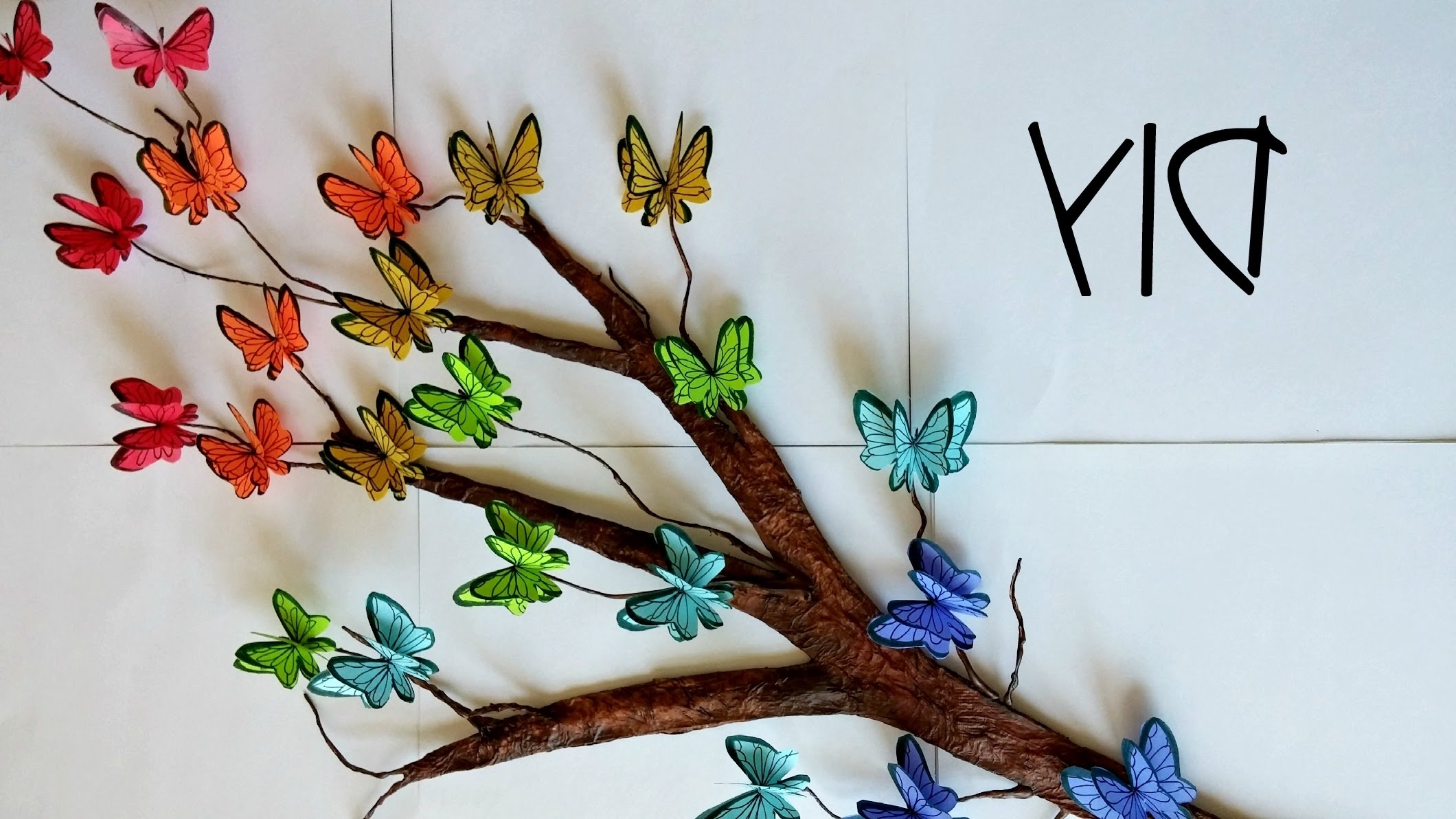 Diy Tree Branch + 3D Butterflies ♥ // Room Decor – Youtube Intended For Most Popular Diy 3D Wall Art Butterflies (View 9 of 15)