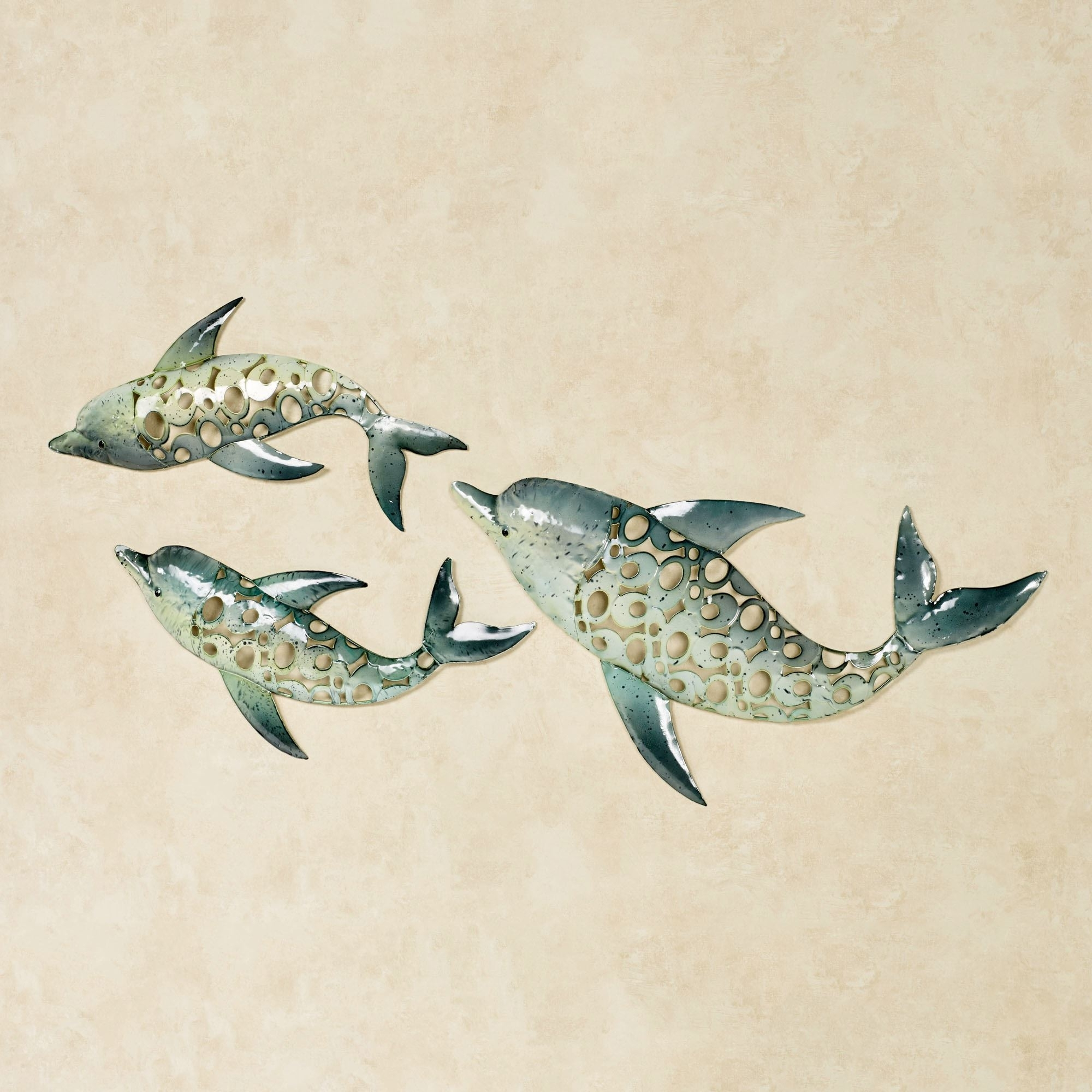 Dolphin Trio Indoor Outdoor Metal Wall Art Set Intended For Preferred Dolphin Metal Wall Art (View 8 of 15)