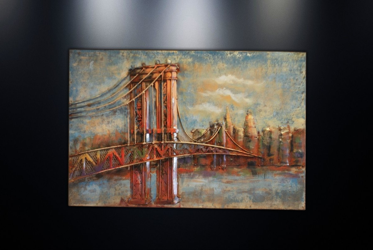 Dsd Group Metal Wall Art Sculpture Home Decor 'brooklyn Bridge Throughout Most Recent Brooklyn Bridge Wall Decals (View 9 of 15)