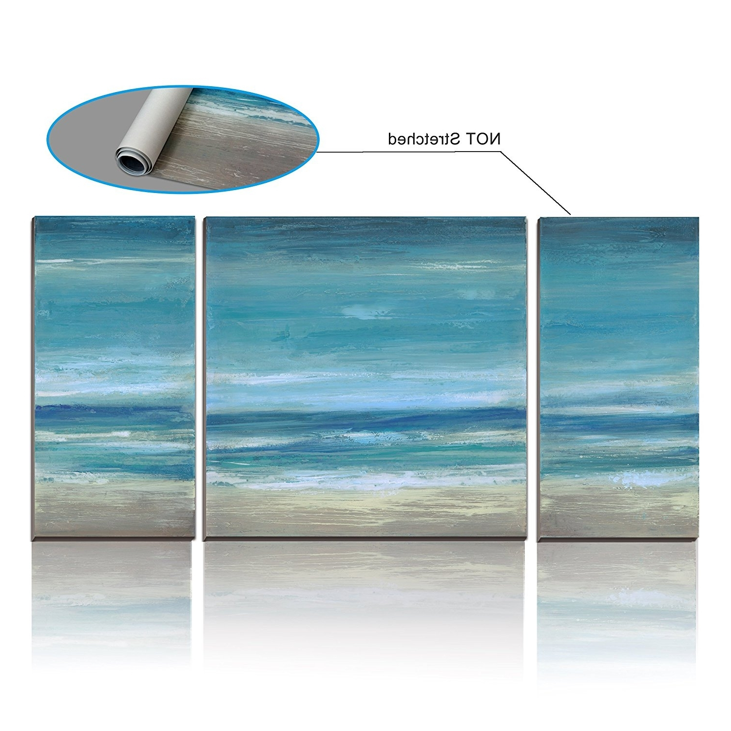 Duck Egg Blue Seascape Canvas Picture 3 Pieces Multi Panel Wall Within Most Popular Duck Egg Blue Wall Art (View 15 of 15)