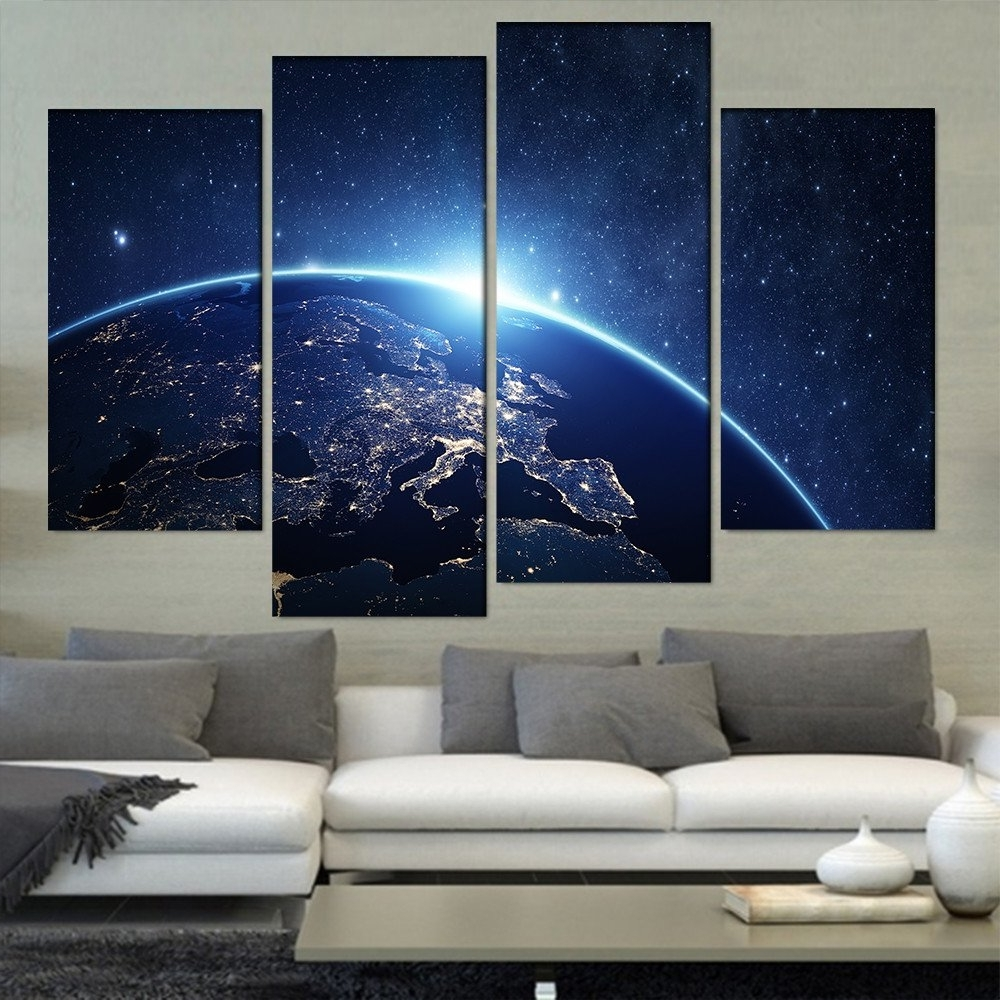 Earth From Space 4 Pieces/sets Canvas Art Canvas Paintings Hd With Favorite 4 Piece Wall Art (View 7 of 15)