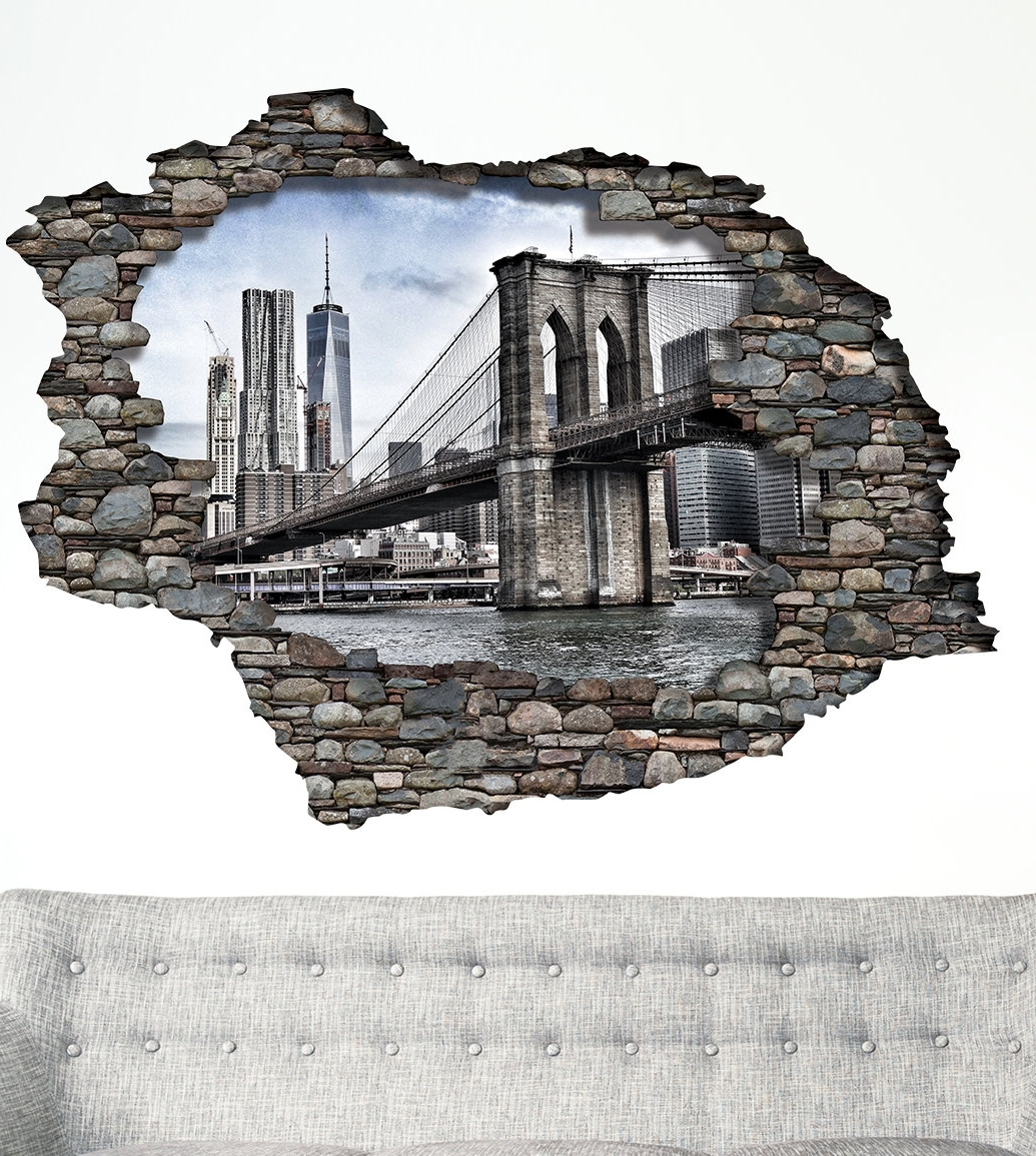 East Urban Home View Through The 3D Wall Brooklyn Bridge Wall Pertaining To Preferred Brooklyn Bridge Wall Decals (View 10 of 15)