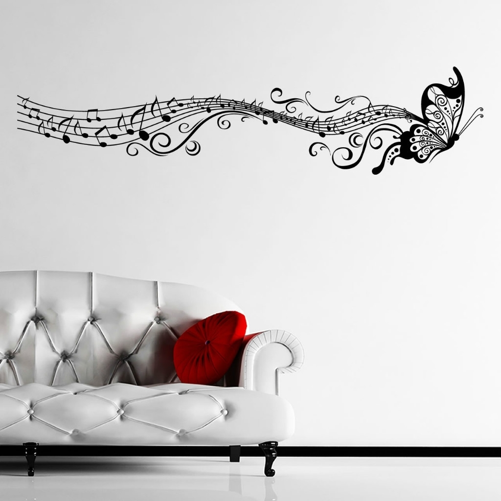 Ebay Musical Butterfly Music Notes Wall Sticker Decal Hanging Inside Recent Music Note Wall Art Decor (View 7 of 15)